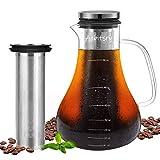 Unizooke Cold Brew Kaffee Maker, 1.6L Glas Kaffeekanne mit Edelstahl Filterpatrone, Kaffeebereiter...
